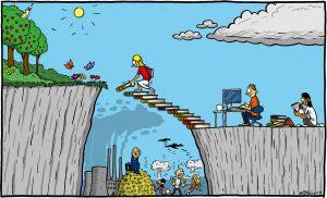 En bild av Max Gustafsson där en människa bygger en bro av böcker.